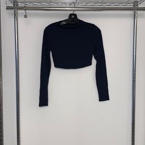 Naked wardrobe navy long sleeve crop top